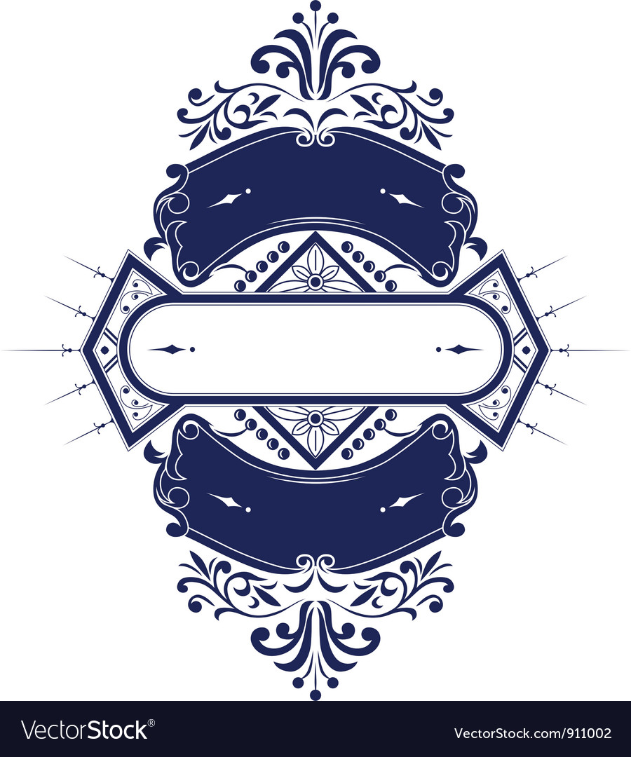 Vintage emblem ribbon vector