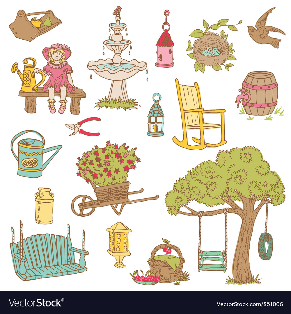 Colorful summer garden doodles vector