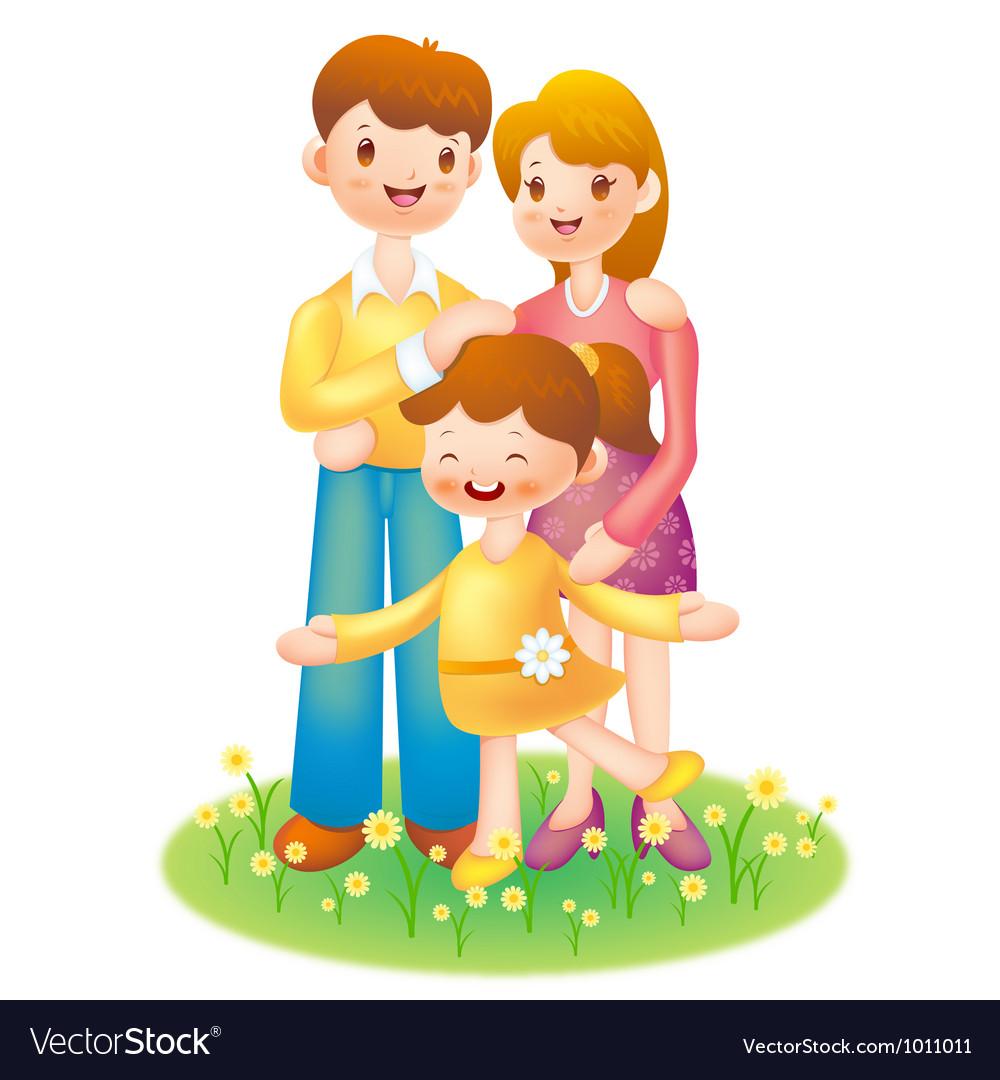 Happy familys journey vector
