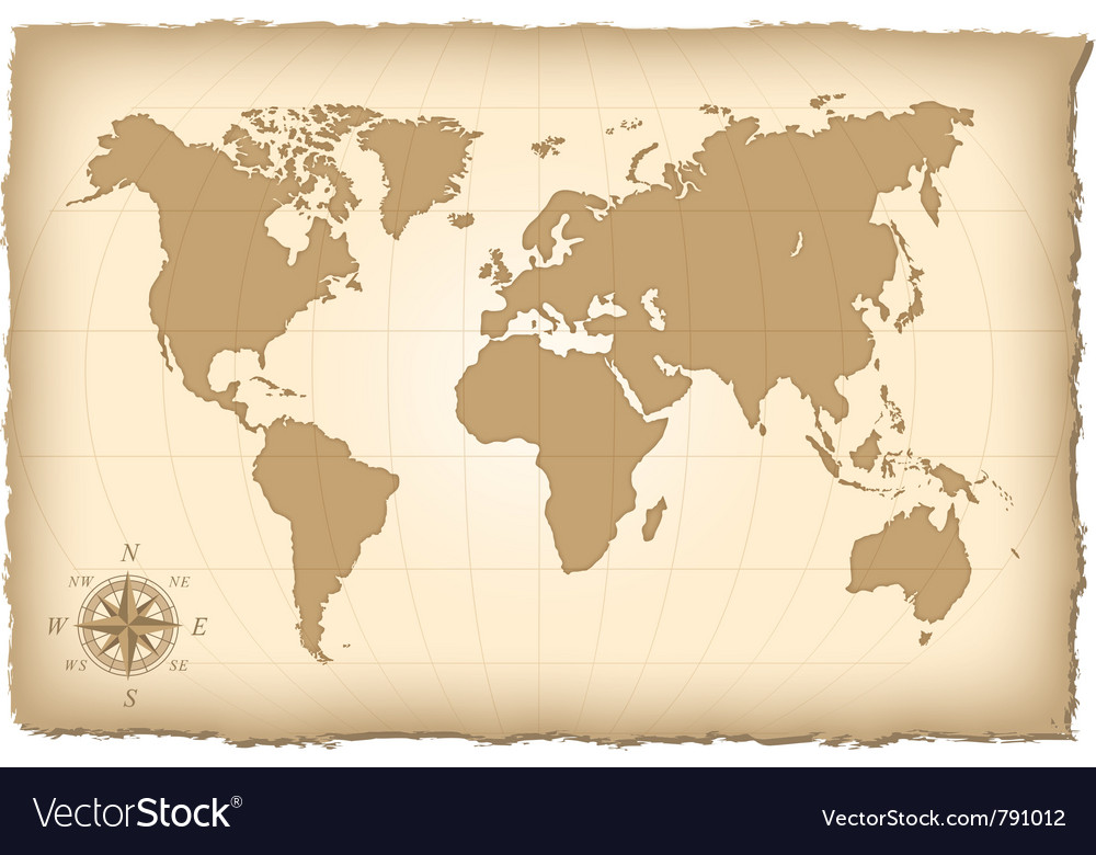 An old map of the world vector