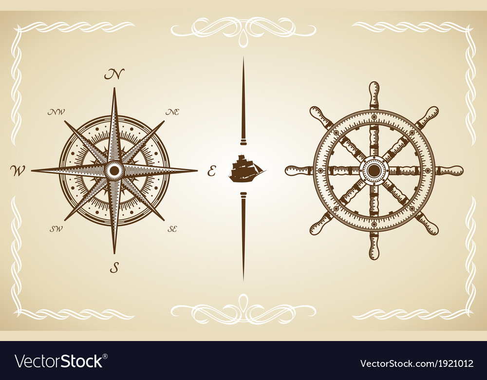 Vintage compass and rudder vector