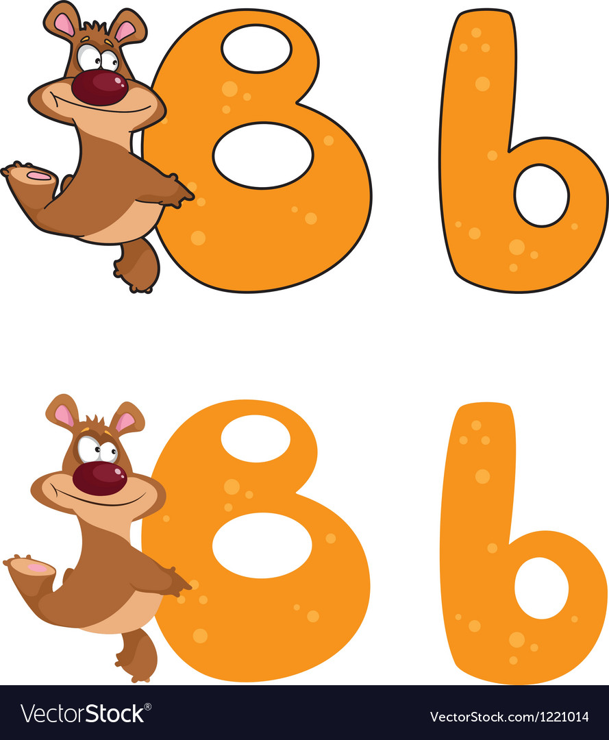 Letter b bear vector