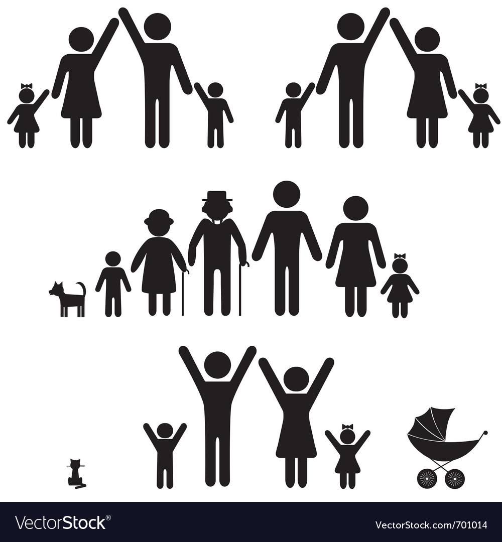 Silhouettes of family vector