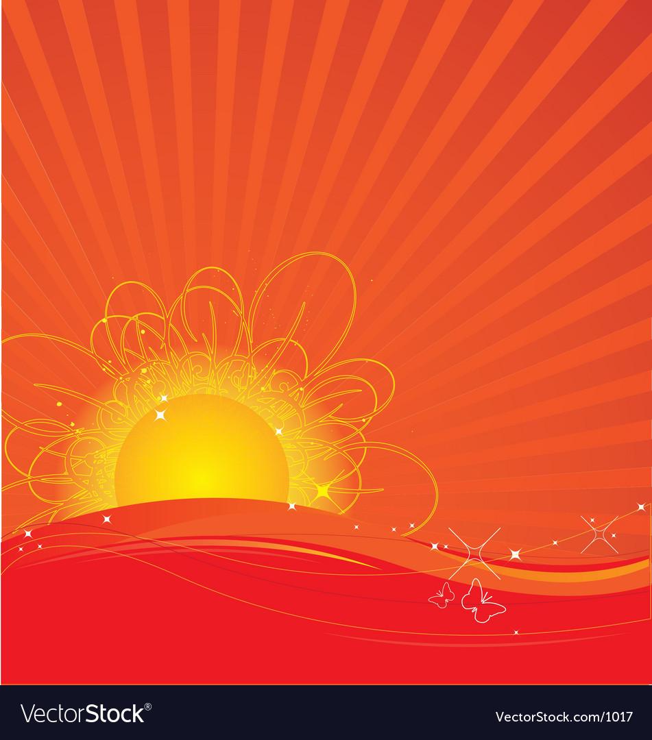 Free rising sun vector