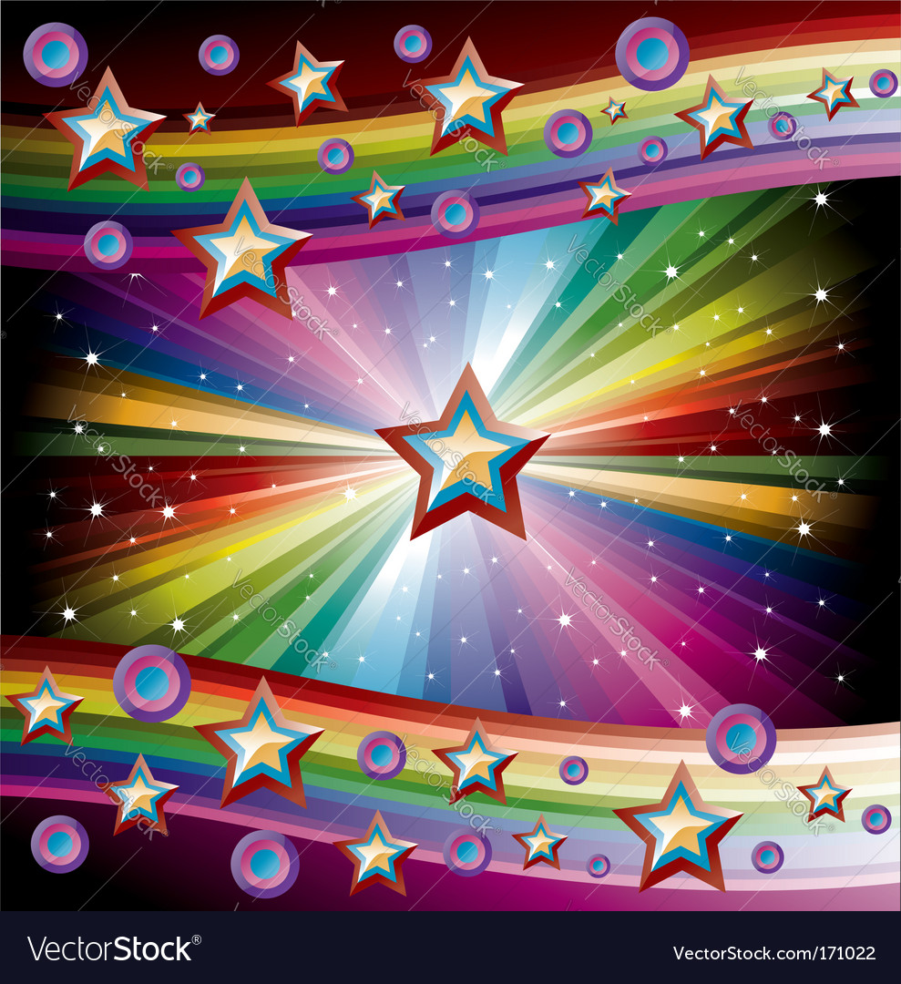 Rainbow music background vector