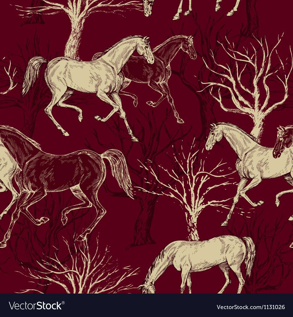 Vintage background with horses and trees vector