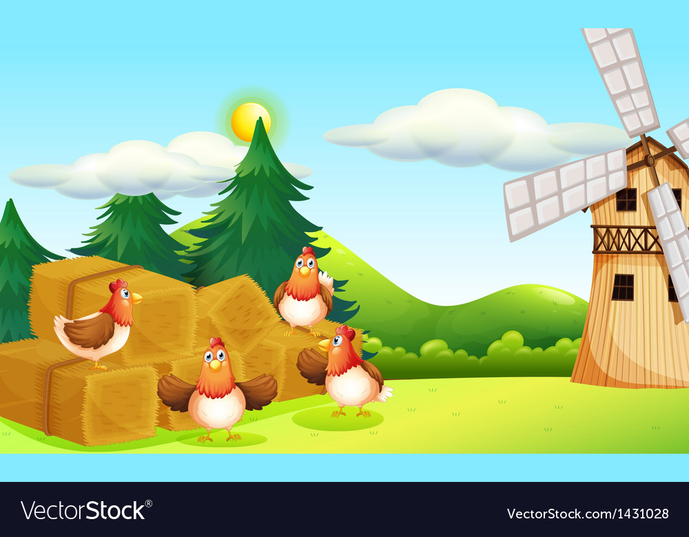 Four chickens at the hay with a windmill vector
