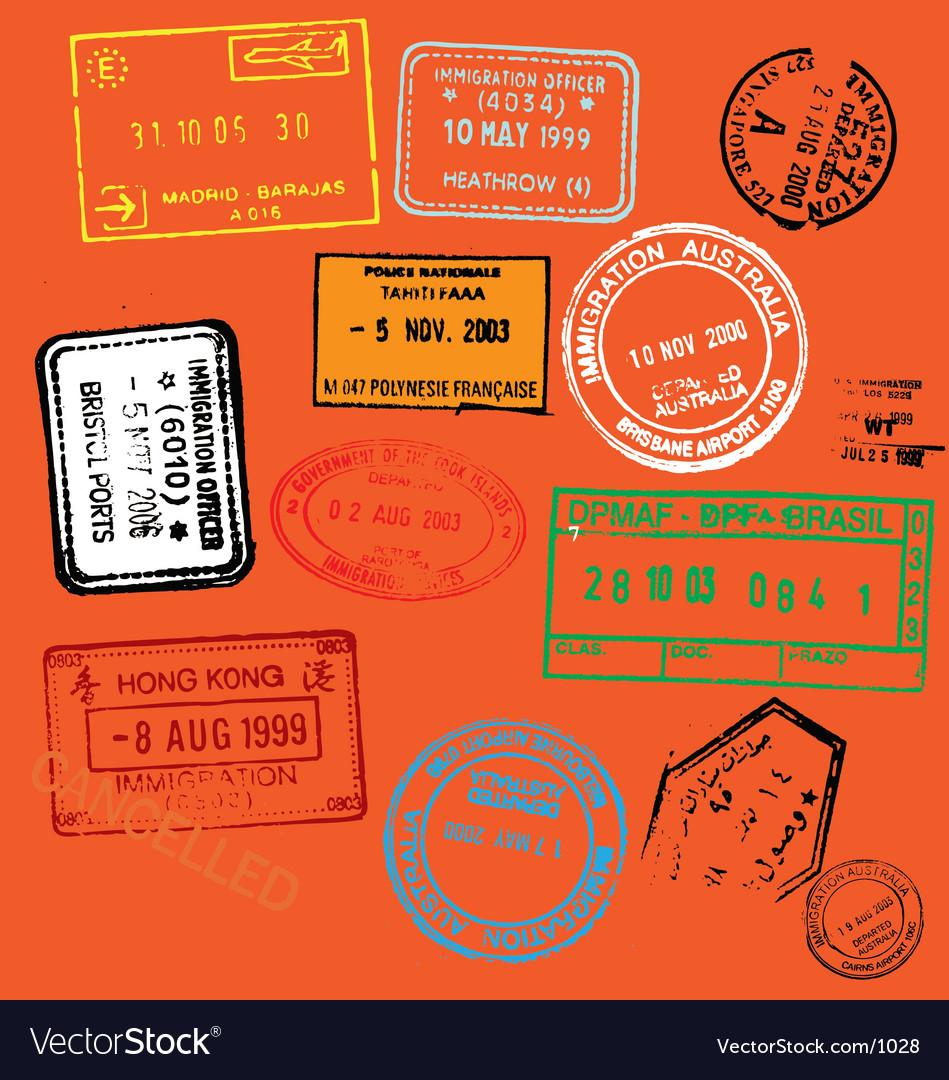 Free passport stamps vector