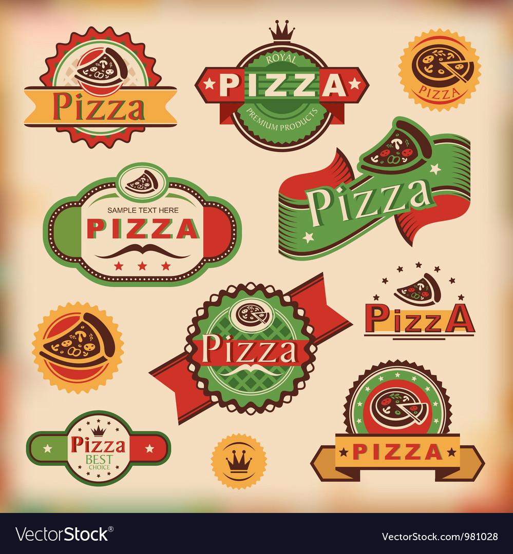 Vintage pizza labels vector