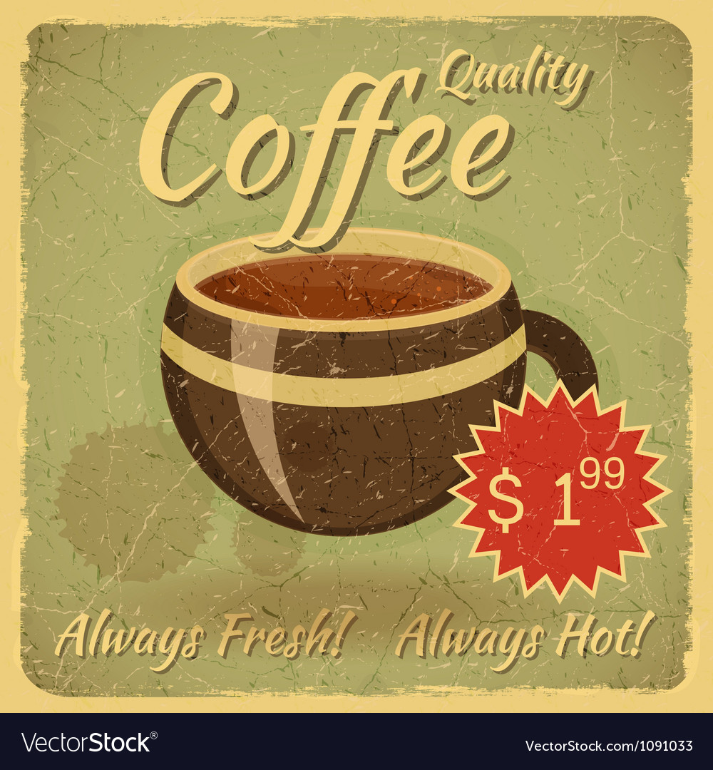 Grunge card with coffee cup vector