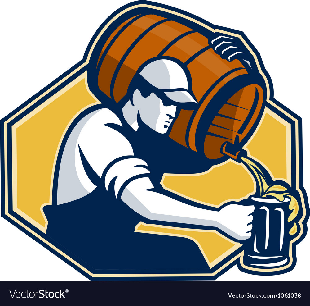 Bartender worker pouring beer from barrel to mug vector