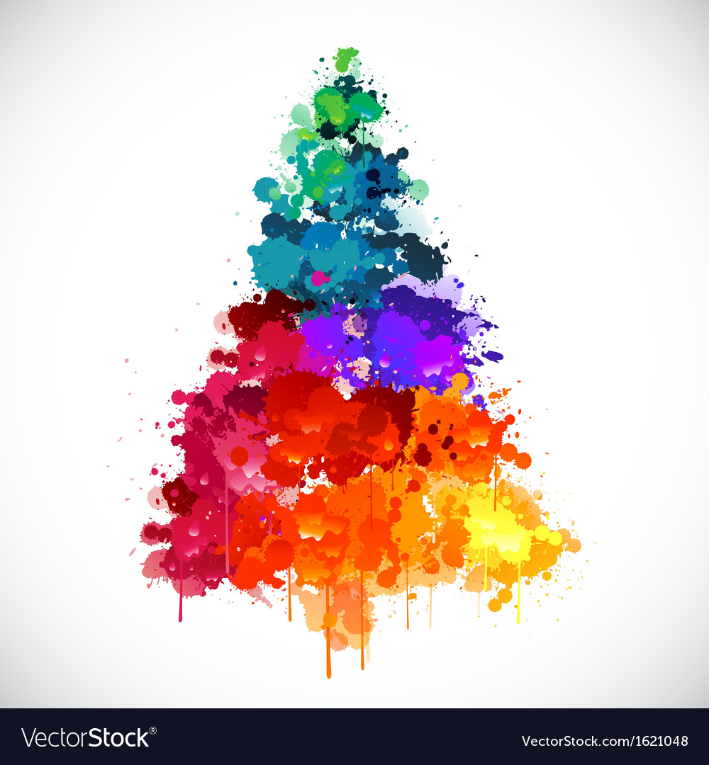 Colorful abstract paint spash christmas tree vector