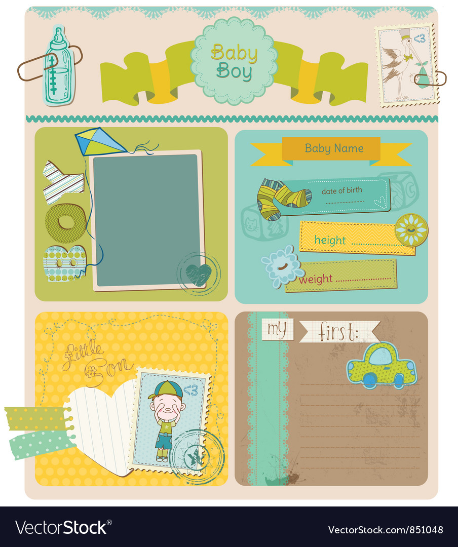 Scrapbook design elements - baby boy cute set vector