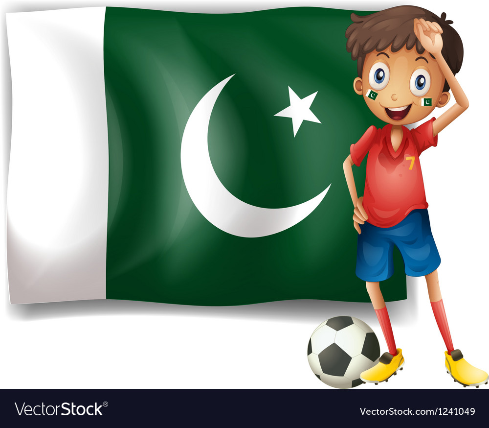 The pakistan flag and the football player vector