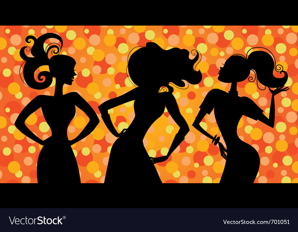 Glamour silhouette girls vector