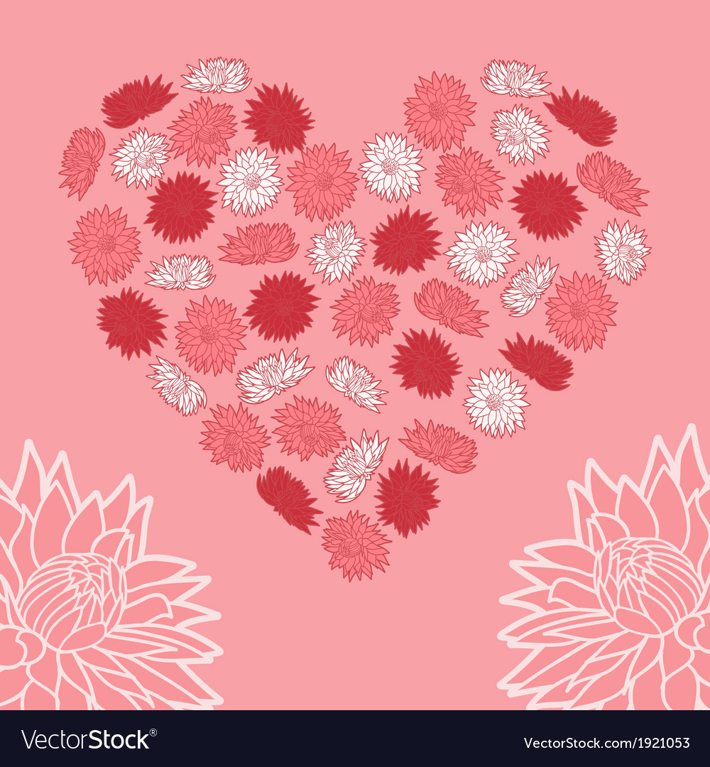 Heart of flowers vector