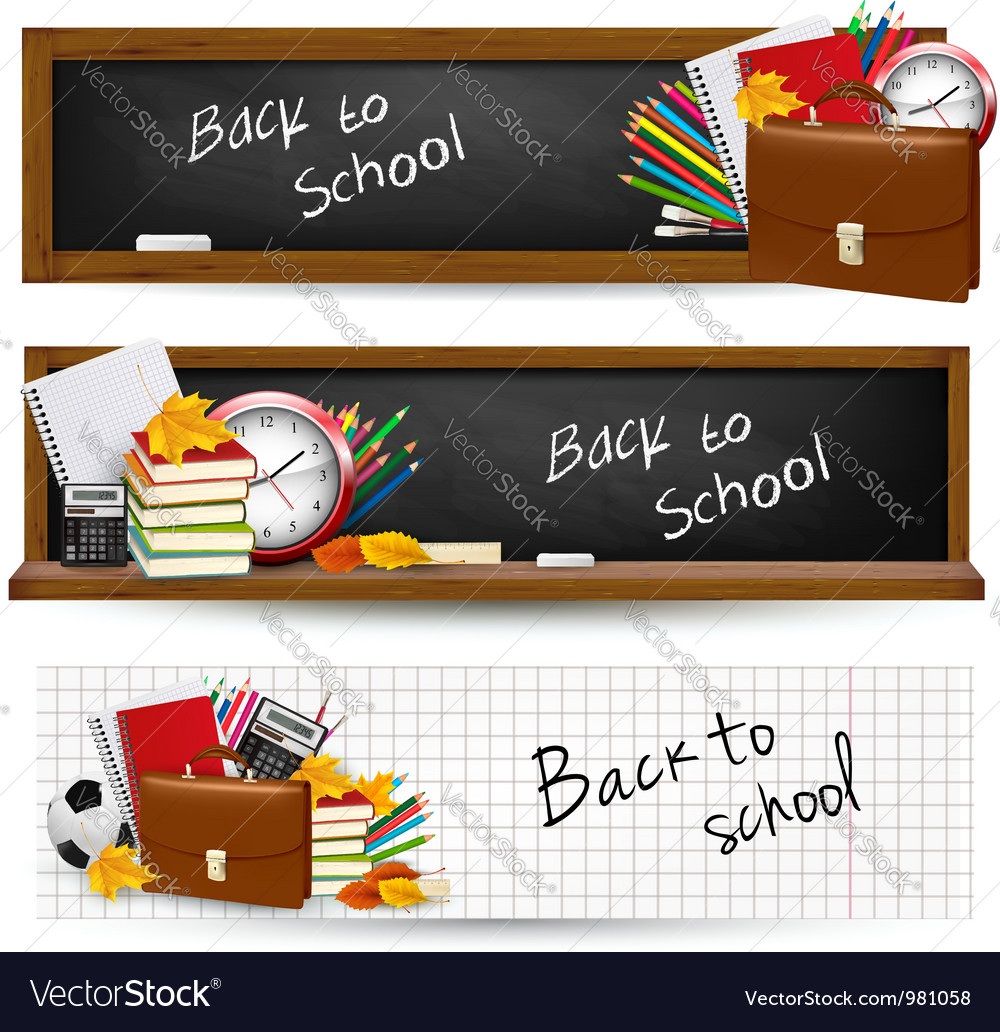 Three banners with school supplies vector
