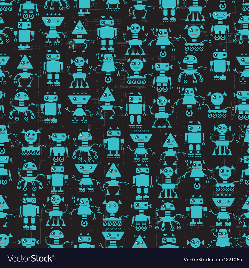 Free cartoon robots seamless pattern vector