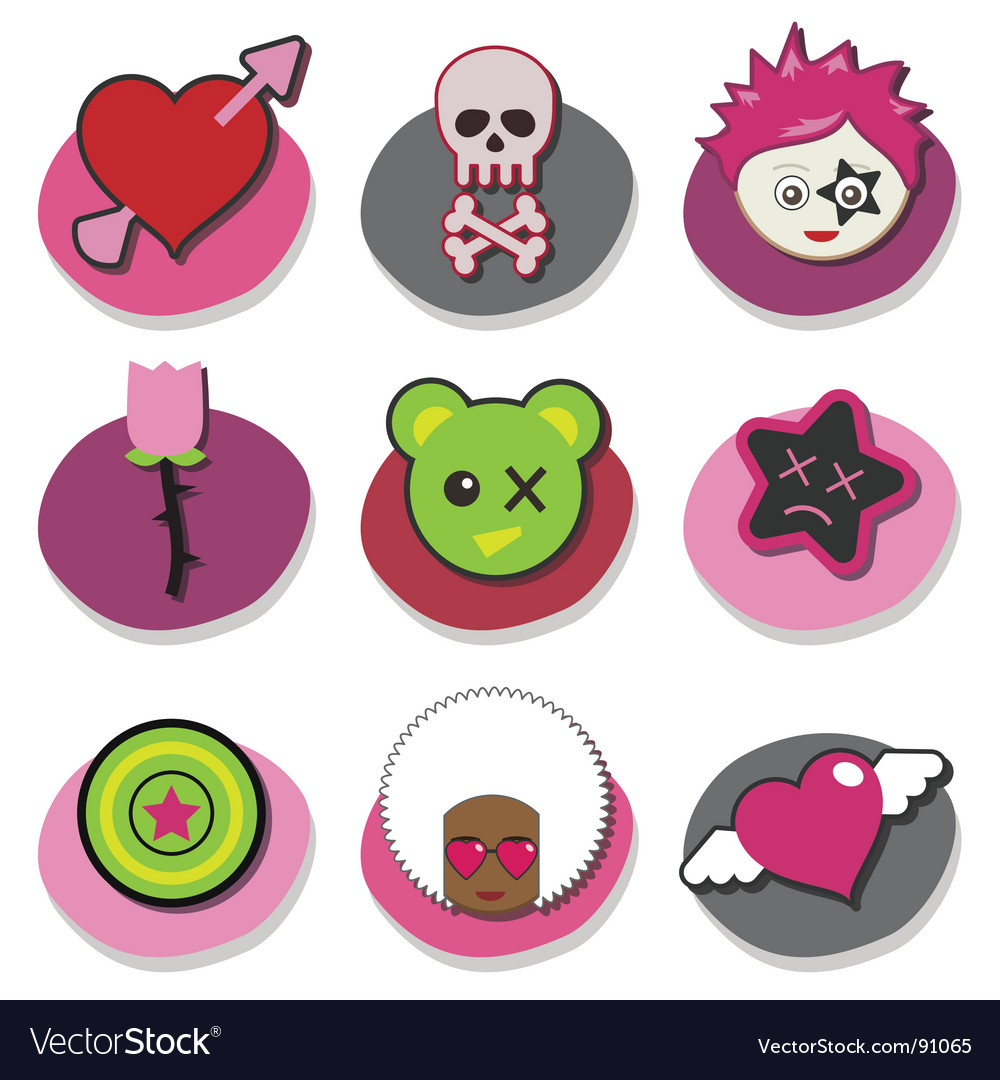 Kids emo icons vector