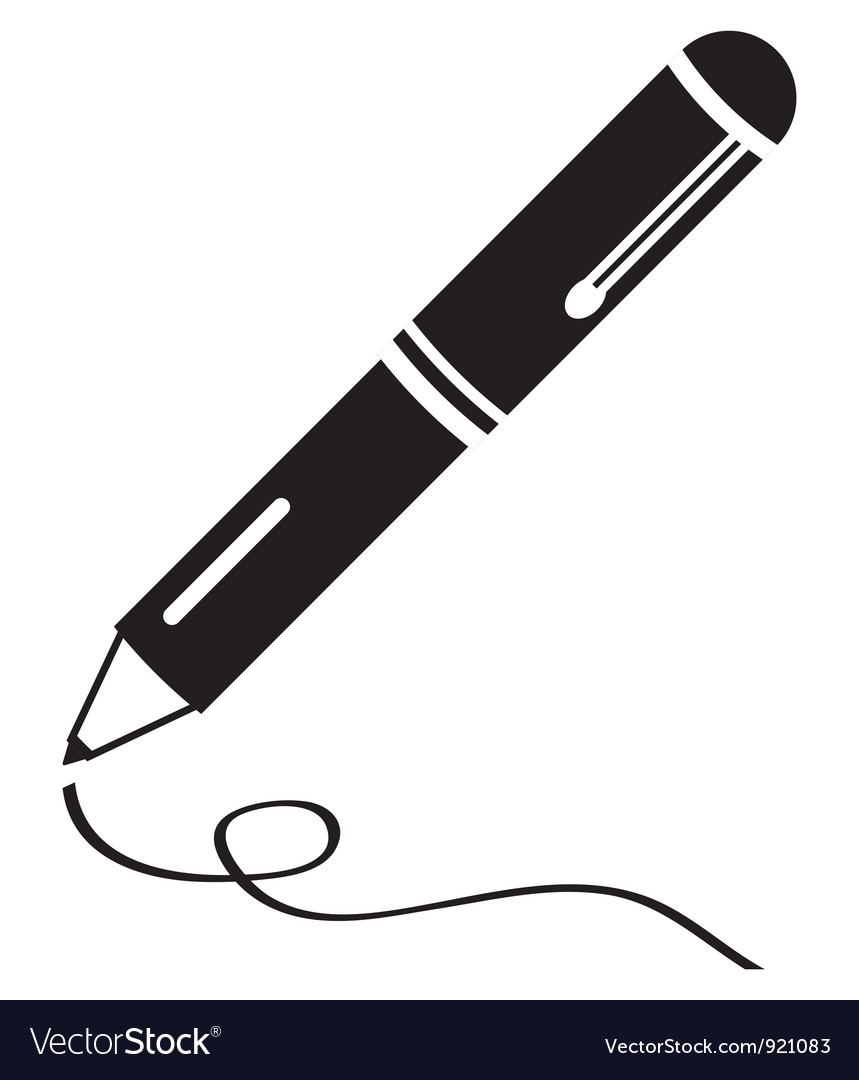 Writing pen clean black icon vector
