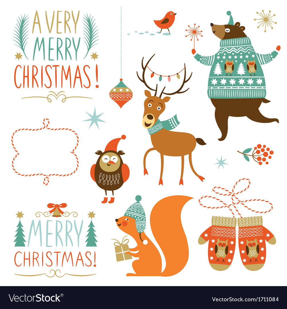 Collection of christmas graphic elements vector