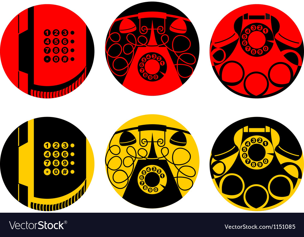 Stylized images of telephone set vector