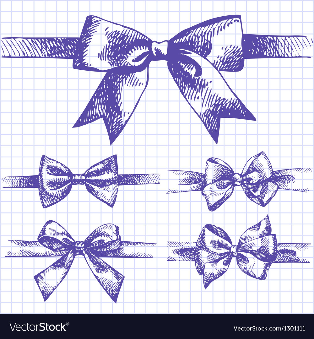Set of bow hand drawn of ribbons vector