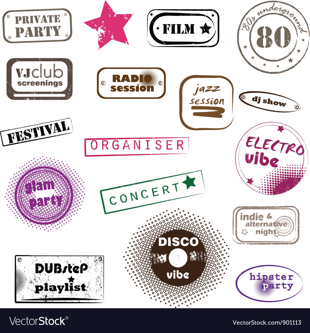 Hipster party stamps vector