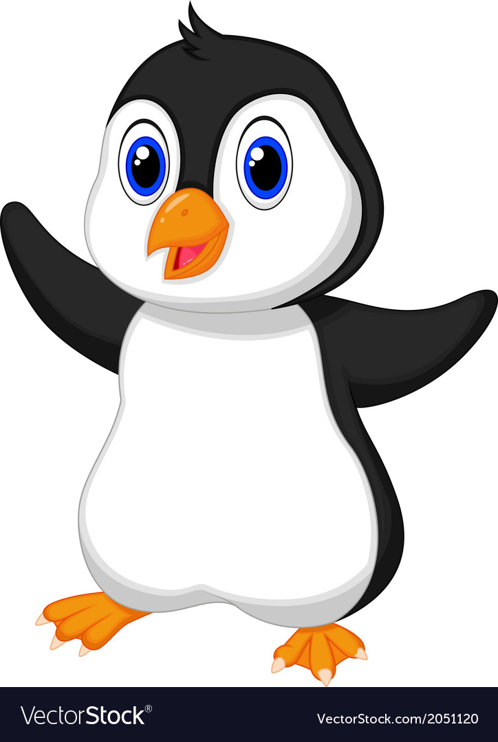 Cute baby penguin cartoon vector