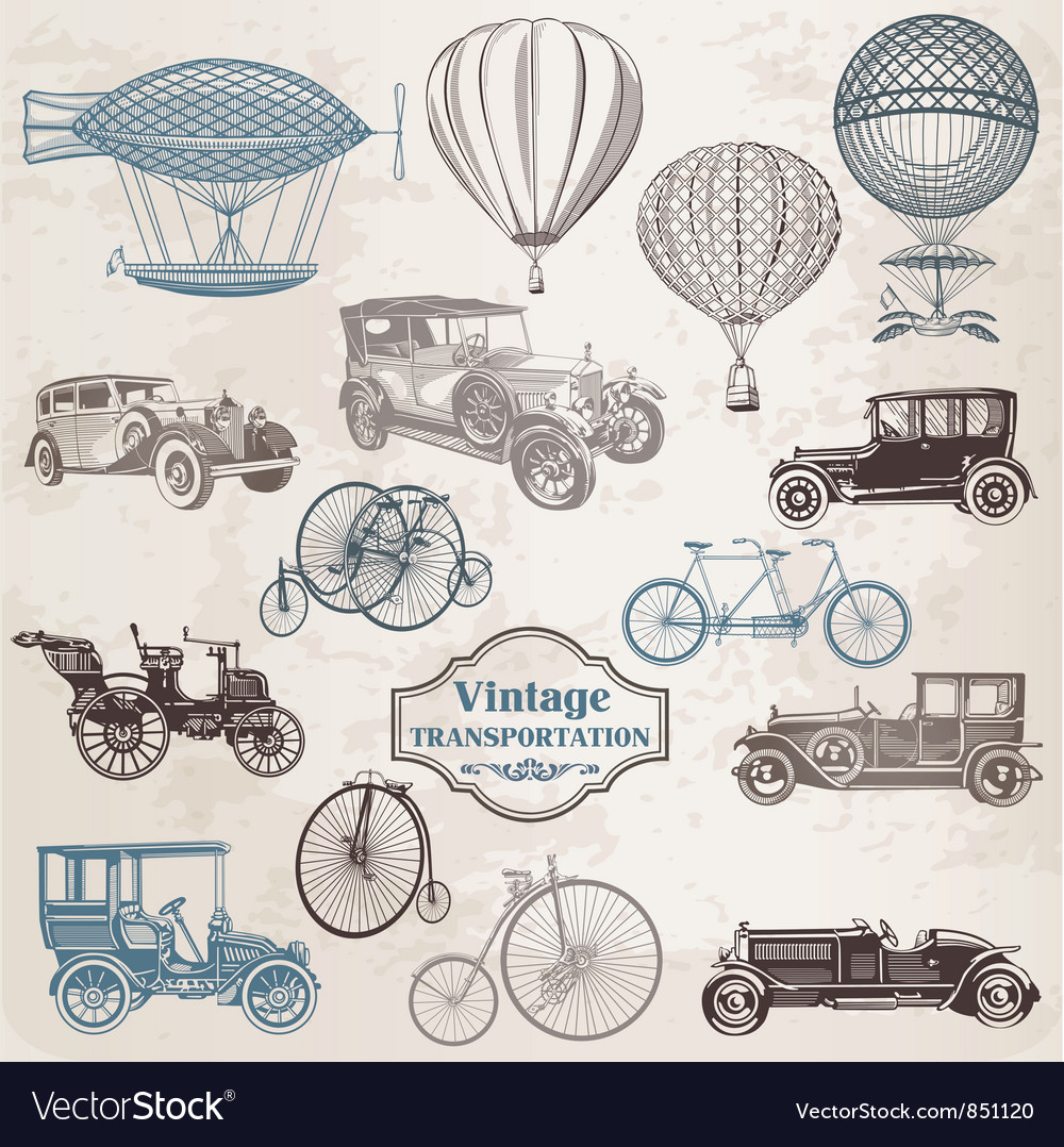Set vintage transportation vector