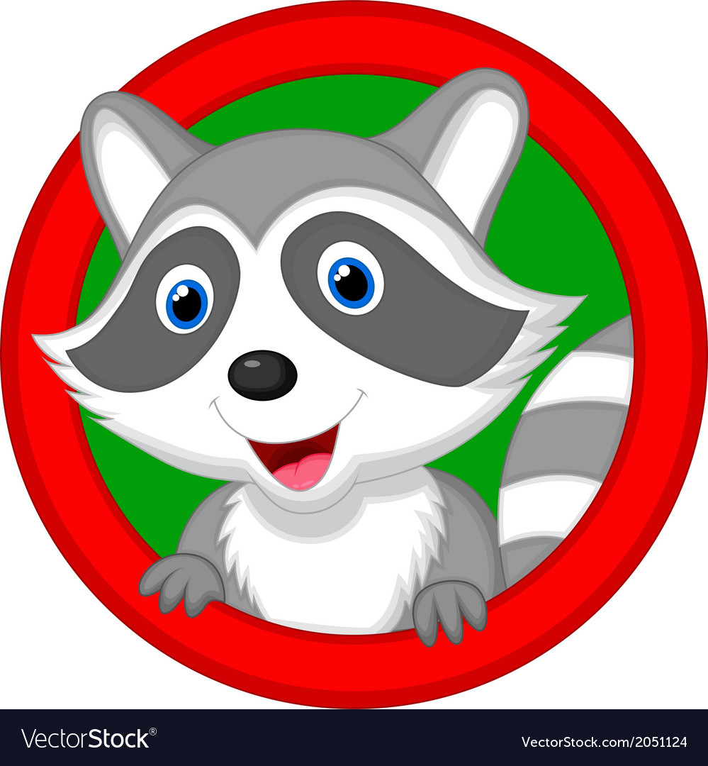 Cute raccoon cartoon posing vector