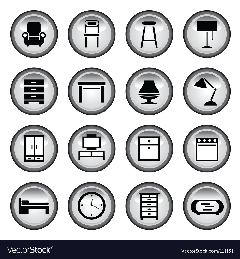 Furniture buttons vector
