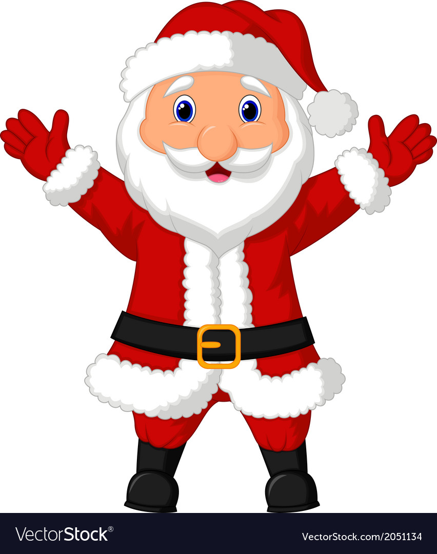 Santa cartoon waving vector