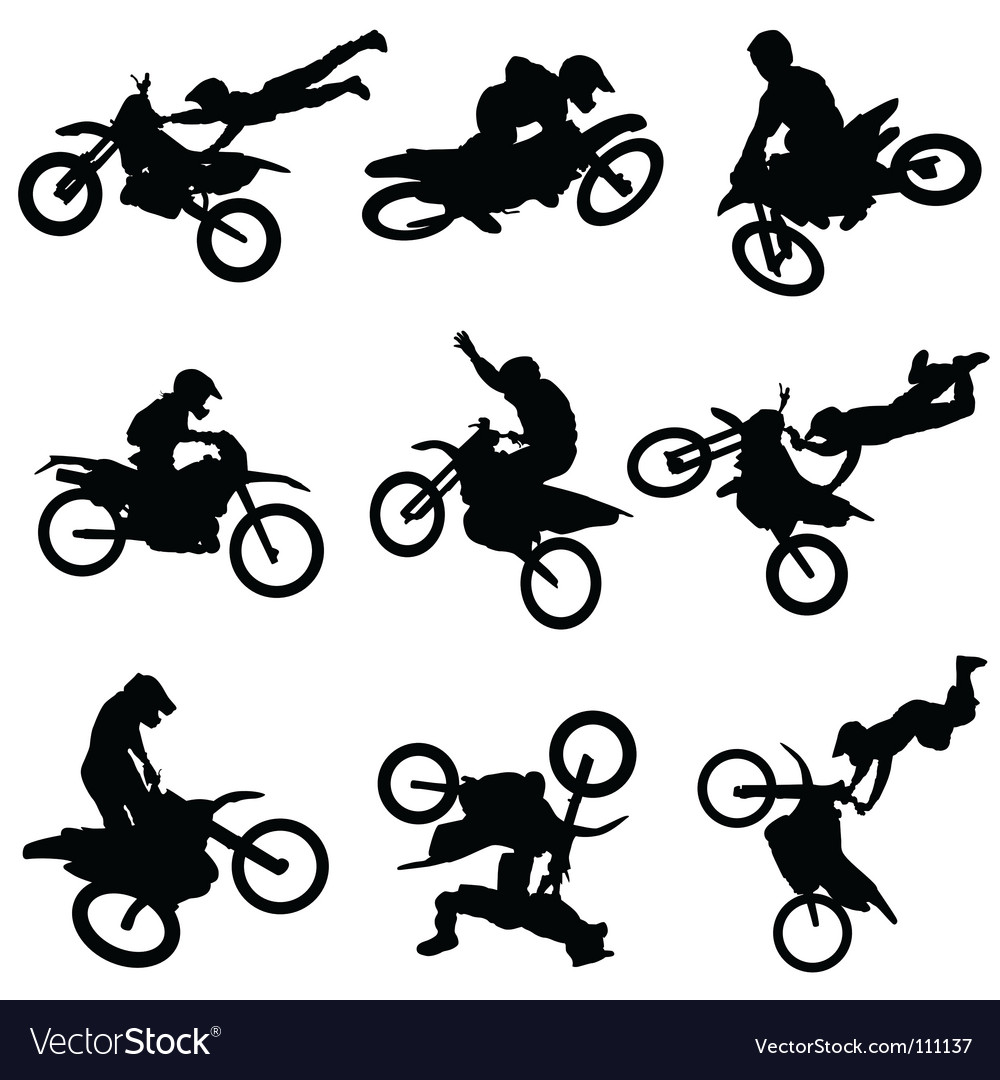 Motocross silhouettes vector