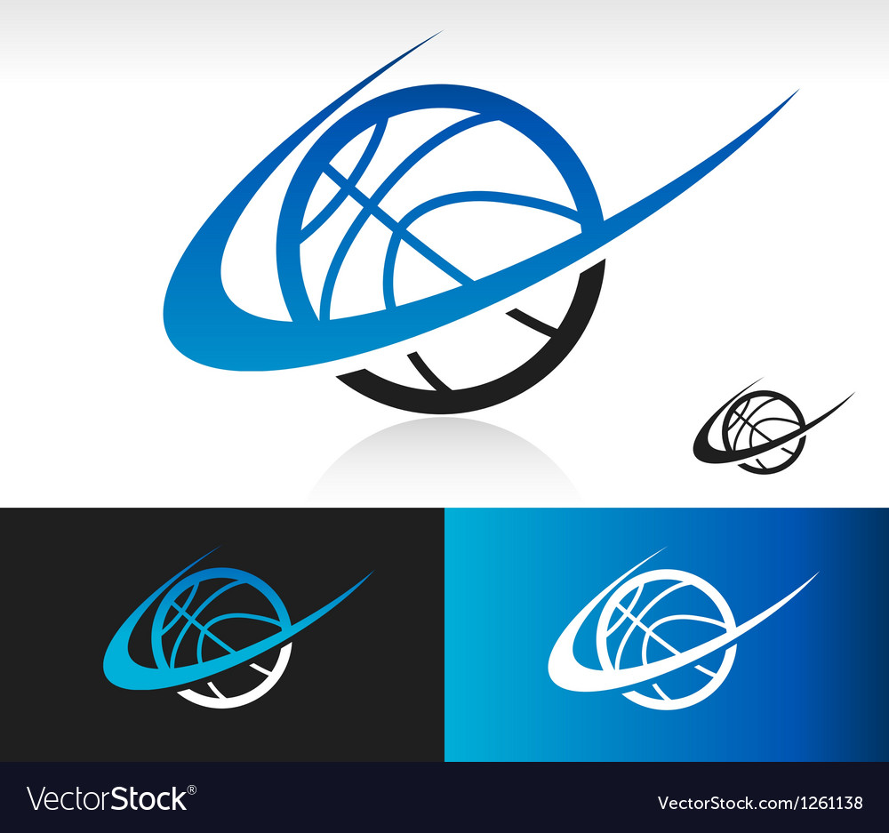 Swoosh basketball icon vector