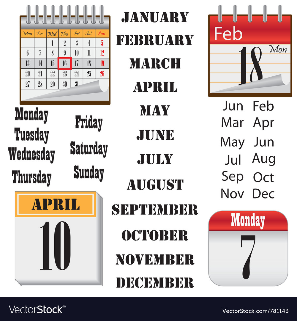 Set of images of calendars vector