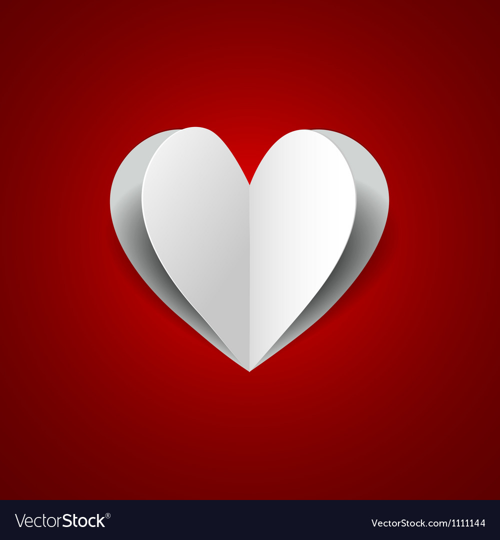 Paper heart on red background vector