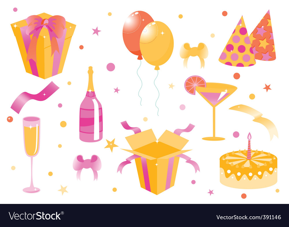 Cartoon birthday icons vector