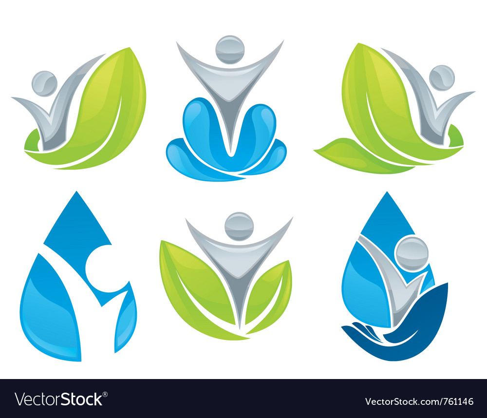 Drop and leaves collection vector