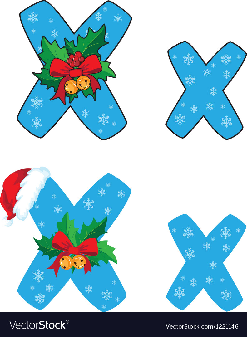 Letter x xmas vector
