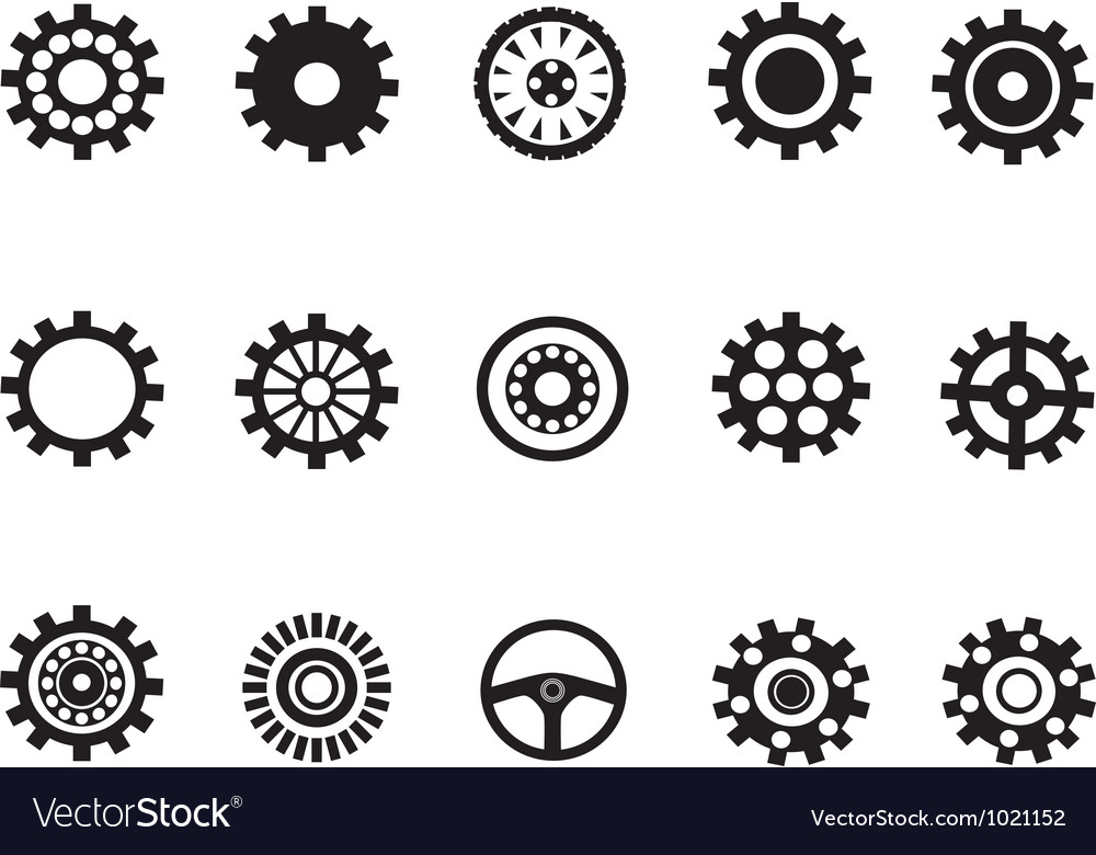 Silhouetted of machine gear vector