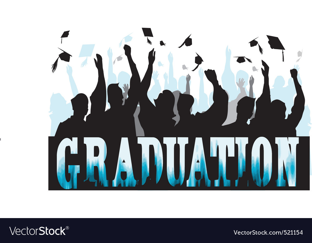 Graduation in silhouette vector