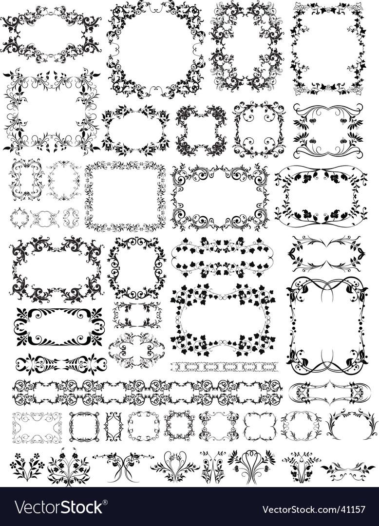 Floral frame elements vector