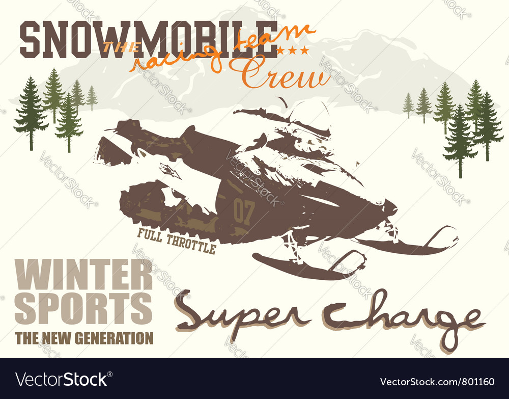 Snow mobile vector