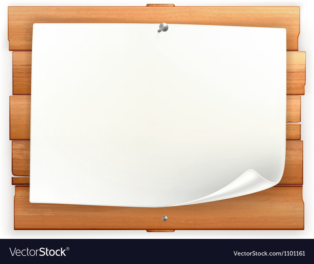 Announcement on wooden board vector