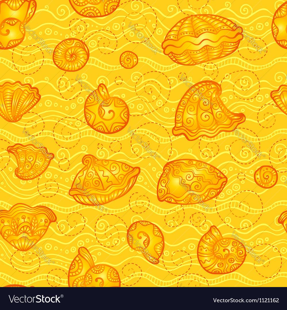 Doodle seashells orange pattern vector