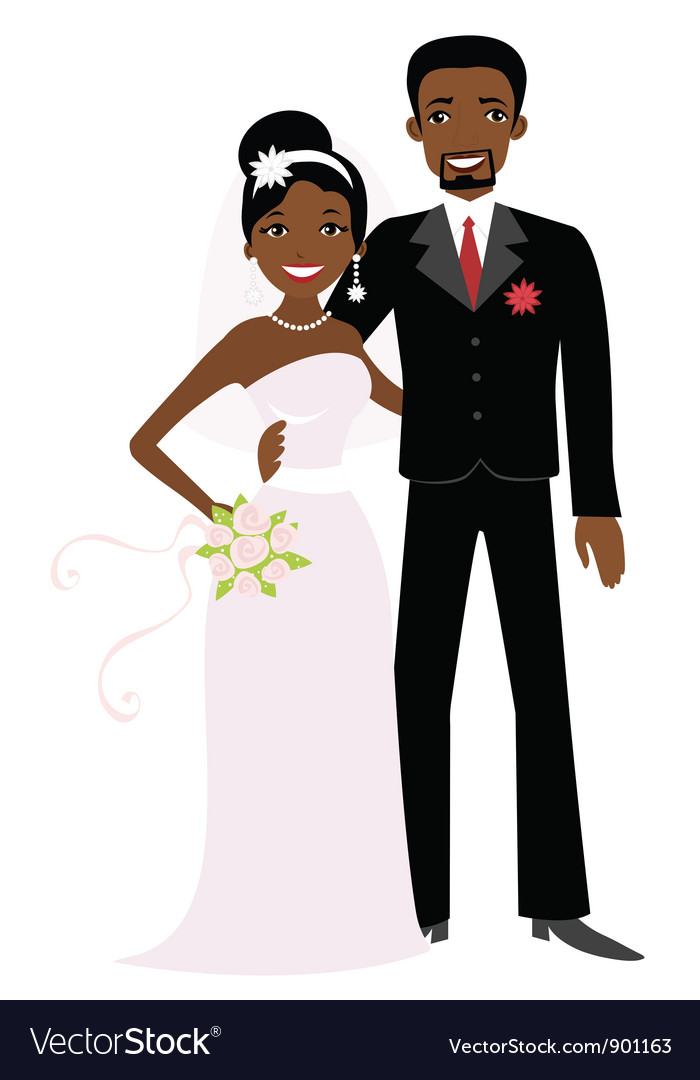 African american wedding vector