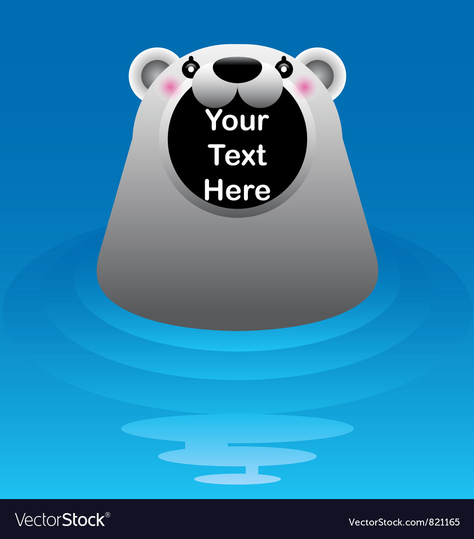 Free white polar bear in water vector