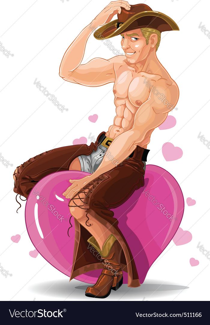 Sexy cowboy vector