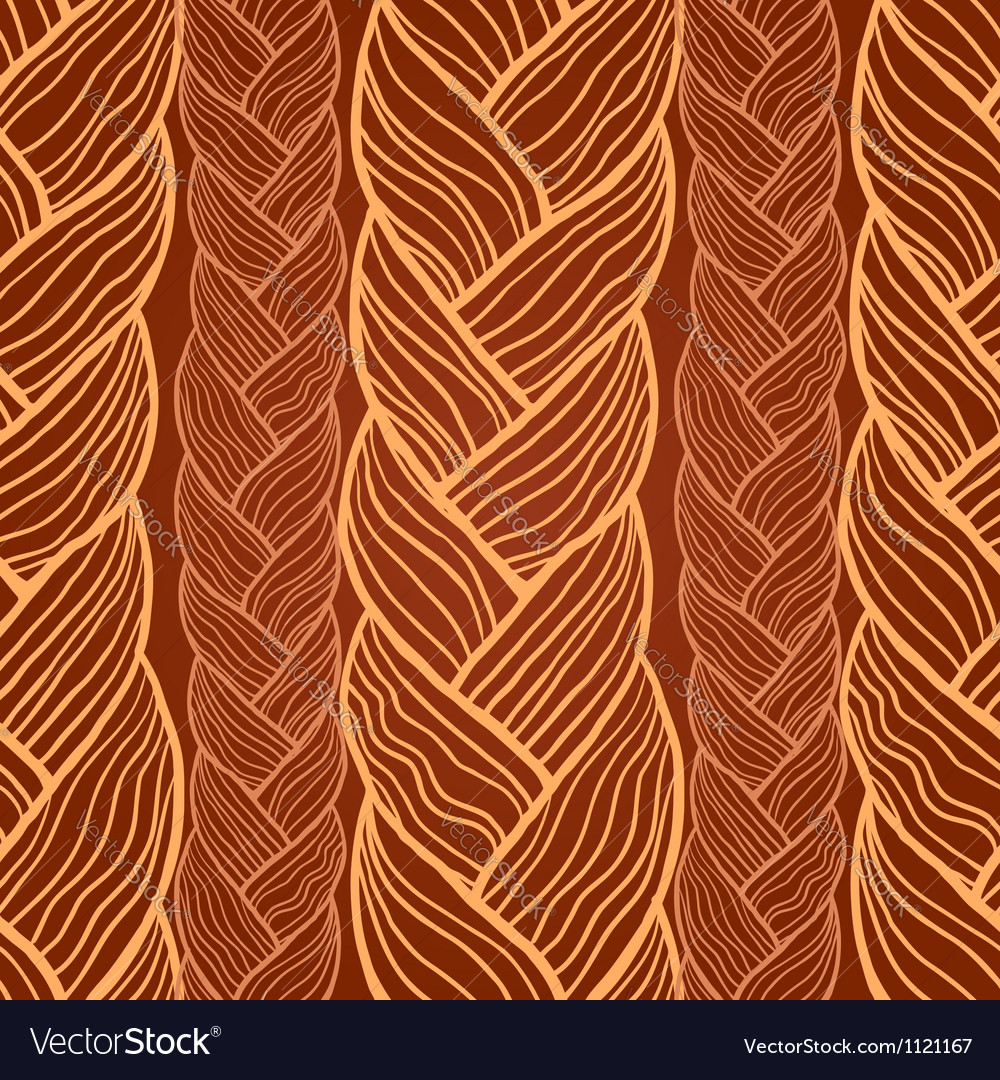 Brown abstract seamless hair pattern vector